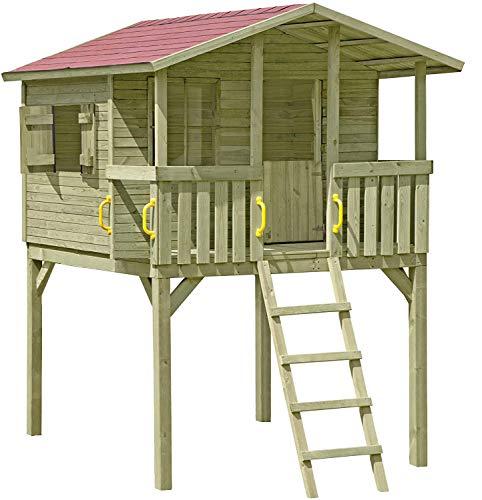 Gartenpirat Stelzenhaus Spielhaus Tom aus Holz mit Veranda, TÜV, (Rutsche optional)