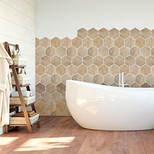 Azulejos stickers voor tegels, zeshoekig, zelfklevend, tegels, cementtegels – mozaïek voor badkamer en keuken – 28 stuks, gepatineerd hout