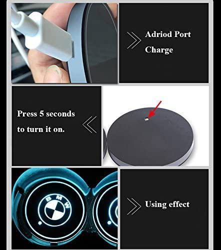 AutoDIY 2pcs LED Car Cup Holder Lights Coaster for V-W 7 Colors Changing USB Charging Mat Luminescent Cup Pad LED Interior Atmosphere Lamp Fit V-W