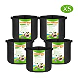 MELONFARM 5-Pack 7 Gallon Grow Bags Heavy Duty Aeration Fabric Pots,Thickened Non-Woven Plant Smart Pots with Durable Handles, for Plant Growing