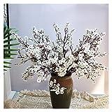 Fleur Artificielle Fleurs artificielles Blanches Cerisier Fleurs Gypsophila Faux Plantes Bouquet de Mariage DIY Vases pour la décoration de la Maison Faux Noël Branche (Farbe : White)