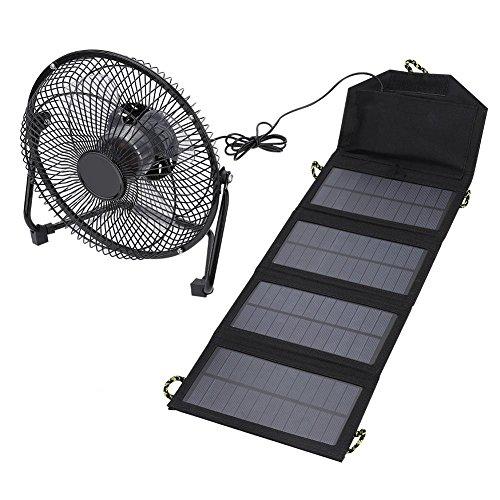 Tihebeyan Cargador de batería Solar Ligero para Exteriores, Cargador Duradero e Impermeable con un Ventilador para Actividades al Aire Libre