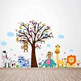 Walplus Removable Self-Adhesive Wall Stickers'Happy London Zoo' Wall Mural Art Nursery Baby Children Kids Room Decoration