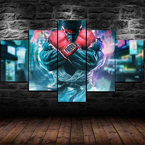 13Tdfc Cuadro En Lienzo, Imagen Impresión, Pintura Decoración, Canvas De 5 Pieza, 150X80 Cm,Enmarcado Street Fighter Ryu Mural Moderno Decoración Hogareña