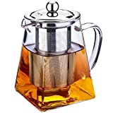 Clear Glass Teapot with <span class='highlight'>In</span>fuser Tea Stra<span class='highlight'>in</span>er Pot Sta<span class='highlight'>in</span>less Steel <span class='highlight'>in</span> Square <span class='highlight'>Shape</span> Tea Pot with <span class='highlight'>In</span>fusers for Loose Tea and <span class='highlight'>Coffee</span> (750ML-Square)