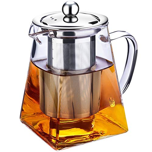 Teiera in vetro trasparente con infusore, per tè in foglie e tè in fiori, Acciaio INOX Vetro Borosilicato vetro, A-750 ml Square