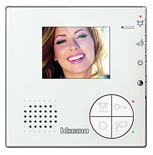 Legrand, Classe 100 V12B Video-Innenstelle im hochwertigen Weißglas-Effekt mit 3,5
