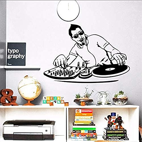 Wall Stickers,Night Club Wall Sticker Vinyl Music Boy DJ Mixer Wall Decal Music Player Wall Poster Music Club Decor Home Music Sticker 42 * 29cm