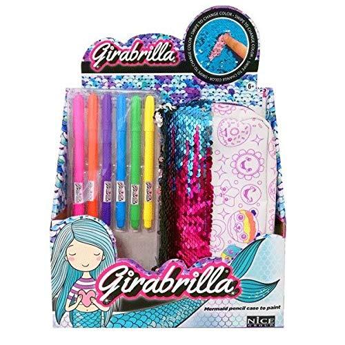 Nice 02555 - Girabrilla Astuccio sirenetta con penne - colori assortiti