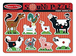 Hear eight realistic animal sounds with this 8-piece wooden sound puzzle with sturdy wooden puzzle board Full-colour matching picture under each wooden peg puzzle piece Eye- and ear-catching puzzle enhances matching and listening skills Aural reinfor...