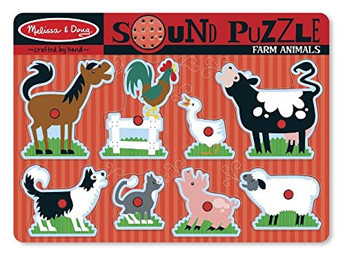 Melissa & Doug Farm Animals Sound Puzzle | Puzzles | Wood | 2+ | Gift for Boy or Girl