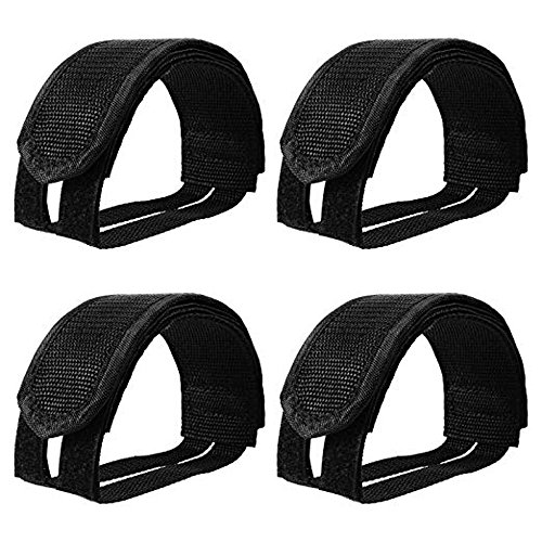 Amasawa Cinghie del Pedale del Piede (4 Pezzi), Bicicletta Anti Scivolo Fasce Autoadesive Doppio Strap Belt Clip Toe Pedal Magic Tape 2 Paio,per Pedali Bici Fixed Gear Bike Cyclette,Nero.