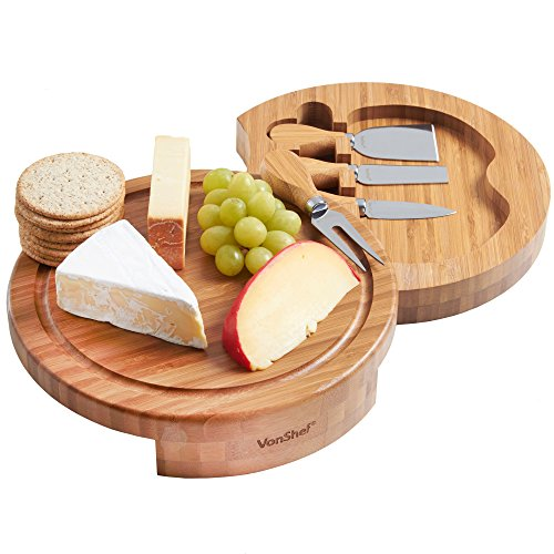 Vestaware 07/606 Slide Out Bamboo Wooden Cheese Board Round Wood