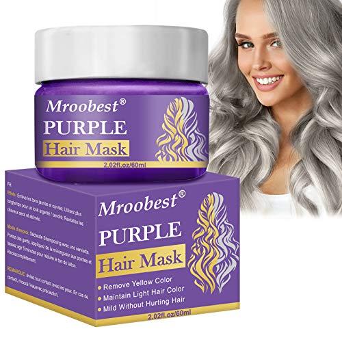 Anti Yellow Hair mask, Purple Hair Mask, Silberne Haarmaske, Anti gelblich lila Haarmaske für blondes, Hervorgehobenes und graues Haar, Lösen Sie das Problem von trockenem und geschädigtem gelbem Haar