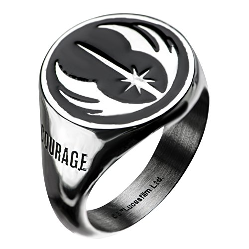 Star Wars Jewelry Men's Stainless Steel Jedi Signet Ring (Silver/Black) - Size 9