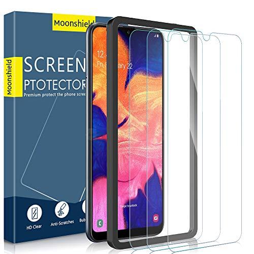 Moonshield Displayschutzfolie für Samsung Galaxy A10 (15,7 cm / 6,2 Zoll), gehärtetes Glas (Ausrichtungsrahmen, einfache Installation), fortschrittliche Klarheit, 3D-Touch, hüllenfreundlich, 3 Stück