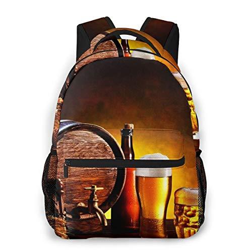 Rucksack Männer Und Damen, Laptop Rucksäcke für 14 Zoll Notebook, Bierfass Biergläser hölzern Kinderrucksack Schulrucksack Daypack für Herren Frauen