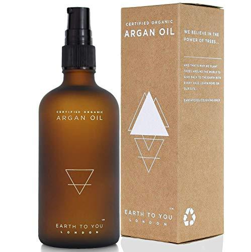 BIO Arganöl für Haare, Haut, Gesicht, Nägel mit Pumpaufsatz. Kalt gepresst, Vegan, unbehandelt Natürliche Haarkur und Feuchtigkeitspflege 100 ml – von Earth To You London