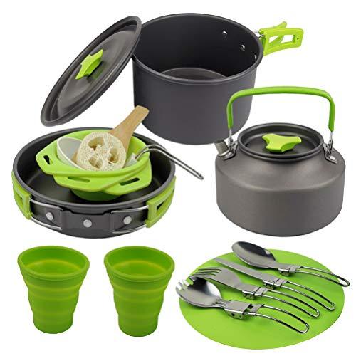 CLISPEED Utensilios de Cocina para Acampar Kit de Desorden Juego de Cocina Portátil Ollas de Camping Cubiertos de Metal Pala de Madera Tabla de Cortar Cuencos Equipo de Cocina para Caminar