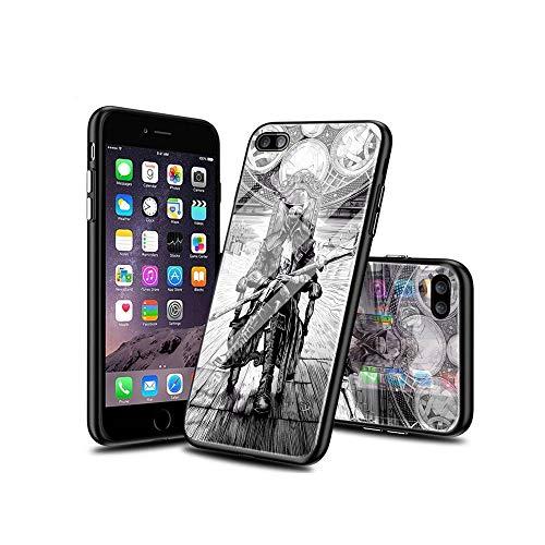 MinSA CC iPhone 6S Funda, iPhone 6 Funda, patrón de Calidad de Vidrio Templado en la Parte Posterior + TPU Protector Lateral Caso para iPhone 6S / iPhone 6 008#B