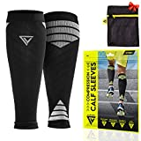 Langov Calf Compression Sleeve (Pair) for Men & Women –leg Calf Support for Shin Splints, Varicose Veins, Pain Relief - Great for Nurses, Running, Travel (20-30 Mmhg). Package Includes Laundry Bag