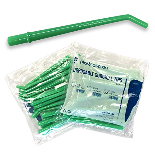 100 Large Dental Surgical Aspirator Aspirating Green Suction Tips, 1 4 Inch Diameter, 4 Bags of 25