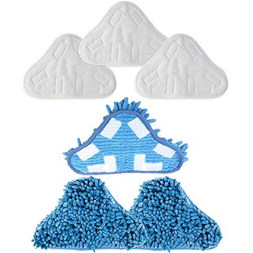 Mumaxun H2O H20 Dampfreiniger X5 (Größe: 250 mm x 180 mm) (6 Stück = 3 x Mikrofaser-Pads + 3 x Korallen-Mikrofaser-Pads)