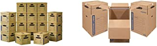 Bankers Box SmoothMove Classic Moving Boxes, Tape-Free Assembly, Easy Carry Handles, Medium, 18 x 15 x 14 Inches, 20 Pack ...