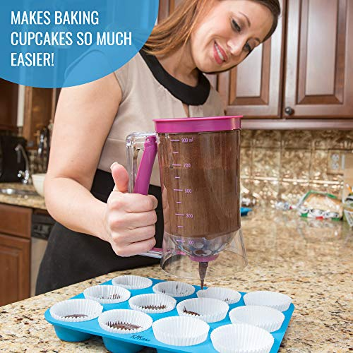 KPKitchen Pancake Batter Dispenser - Perfect Baking Tool for Cupcake, Waffles, Muffin Mix, Crepes, Cake or Any Baked Goods - Easy Pour Home Food Gadget - Bakeware Maker with Measuring Label