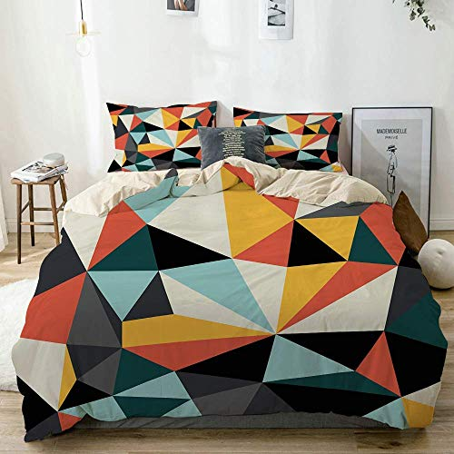 Juego de funda nórdica beige, arte cubista con varias formas geométricas multicolores que forman un trabajo unificado, juego de cama decorativo de 3 piezas con 2 fundas de almohada Easy Care Anti-Alér