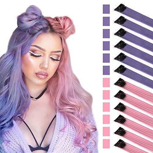 FESHFEN Extensión de cabello de color, Rosado Púrpura para Niñas Princess Party Highlight Extensiones de Cabello Liso y Colorido Clip en Disfraces Pieza para el Cabello para Muñecas, 50cm