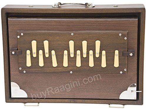 Shruti Instrument Maharaja Musicals, klein, 33 x 24 x 7,6 cm, unlackiert, mit Tasche, Walnussholz, 13 Noten, Sur Peti Surpeti, indisches Musikinstrument (PDI-FAH)