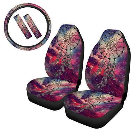 TOADDMOS Galaxy Dream Catcher - Fundas universales para asiento delantero de coche + funda para volante + almohadillas para cinturón de seguridad para coche, SUV, camiones, sedán