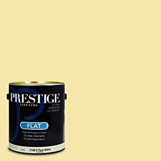 Prestige Paints E100-P-SW6912 Exterior Paint and Primer in One, 1-Gallon, Flat, Comparable Match of Sherwin Williams Glisten Yellow, 1 Gallon,