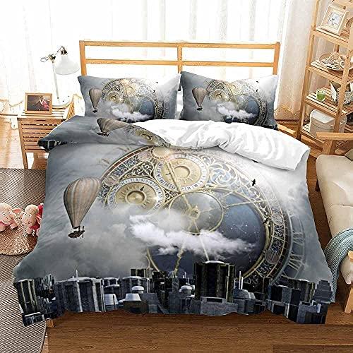 Bedclothes-Blanket Juego de sabanas Cama 150,Cama 3D Single Ropa de Cama Edredón Set Reloj de Tres piezas-200 * 229_3