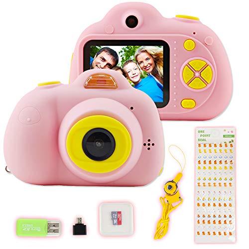 deAO Cámara Digital HD Infantil, Batería Recargable, Diseño Resistente a Prueba de Choques, Modo Selfie, Variedad de Filtro (Rosa)