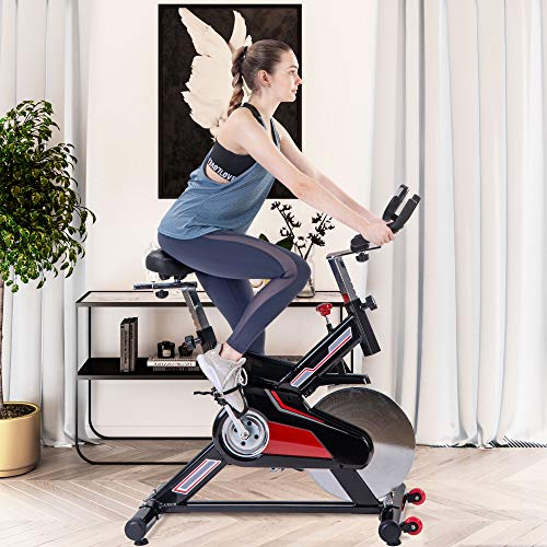 Merax Indoor Cycling Exercise Bike Belt Drive Stationary Bicycle with LCD Monitor and Comfortable Seat Cushion for Home Cardio Workout