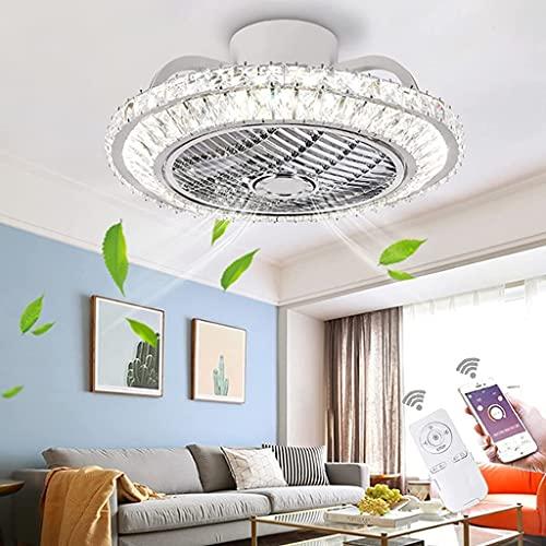 YUnZhonghe Ventilador de techo de cristal LED con luz 72W regulable con control remoto y aplicaciones Lámpara de ventilador Velocidad ajustable Ventilador Luz de techo para dormitorio Sala de estar Co