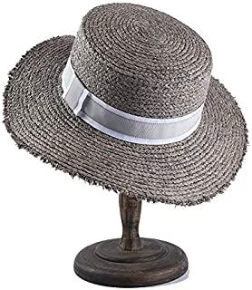 CHENDX Hat Women's Flat Top Sun Hat Spring and Summer New Lafite Straw Hat Female Flat Sunscreen Visor Beach Hat (Color : Grey)