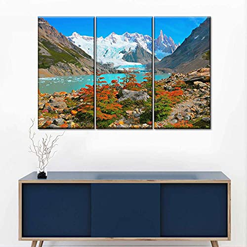 Quadro Multipannello 3 Pannelli,Patagonia Lake Multi Panel Quadro su Tela 3 Pezzi,Quadro Stampa,Stampa Artistica, Poster Arte Pronto Appendere,Regalo,Decor Parete