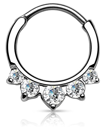 Piercing Boutique Surgical Steel Five CZ Gem Jewel Septum Clicker Nose Daith Ring 14g (1.6mm) One Piece - Clear