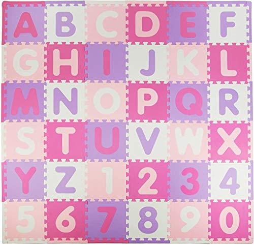 Tadpoles Soft EVA Foam 36 Piece ABC Playmat Set, Pink/Purple, 74x 74 (36 Sq Feet)