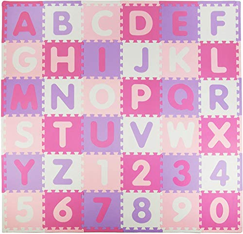 Tadpoles Soft EVA Foam 36 Piece ABC Playmat Set Pink/Purple 74x 74 36 Sq Feet