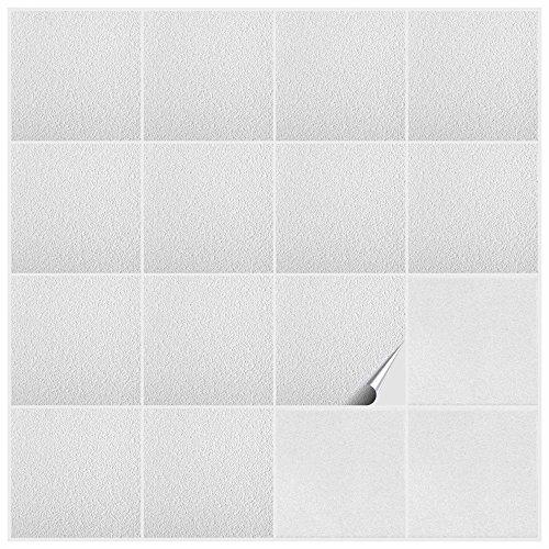FoLIESEN 2247120 Adesivi per Piastrelle in PVC, per Il Bagno e la Cucina, Decorazione per intonaco Rustico, 120 Pezzi, 15 x 15 x 2,8 cm