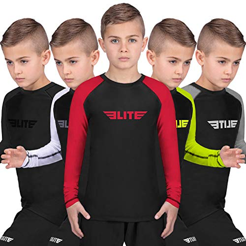Elite Sports Rash Guards for Boys and Girls, Full Sleeve Compression BJJ Kids and Youth Rash Guard (Red, X-Large)