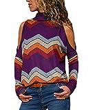 YOINS Donna Camicetta Casuale Maglietta con Spalla Fredda T-Shirt con Collo Alto a Maniche Lunghe Pullover a Righe Felpe Porpora EU36-38