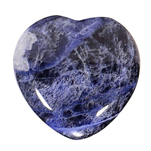 Morella Portafortuna a forma di cuore gemma pietre preziose Sodalita africana 3 cm in un sacchetto di velluto
