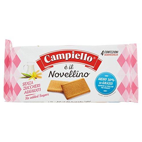 Campiello - Novellino, Biscotti Frollini, Senza Zuccheri Aggiunti, Pacco da 4X87.5 g, totale: 350 g