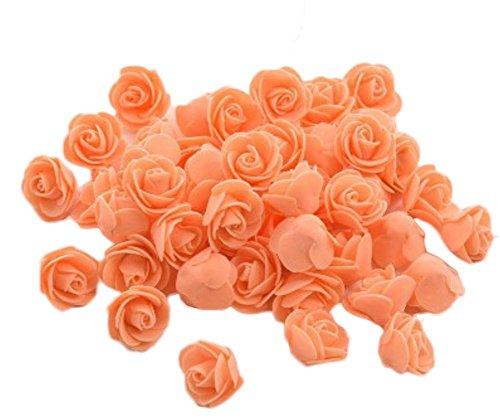 Dosige 50 Stück Foamrosen Schaumrosen Künstliche Rosen Blume Brautstrauß für Hochzeit Party Haus Dekor 3-3.5cm Orange