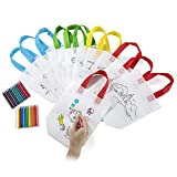Comius Sacs à Main réutilisables, 12 Sac en Coton + 24 Crayons Textiles pour la Peinture Or Give Away, Idéal pour Les Cadeaux de Fête d'anniversaire, Les Communions